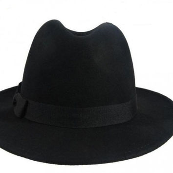 Men Women Fedora Hat Floppy Derby Trilby Cap Headwear Black SM6