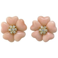 Adorable Angel Skin Coral Diamond Gold Flower Earrings