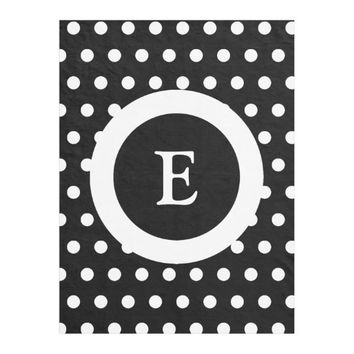 Personalized black and white polka dots fleece blanket