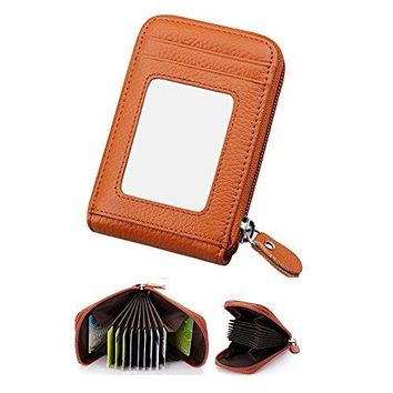 IDEAWIN Genuine Leather Compact Card Wallet Accordion Card Holder Card Organizer