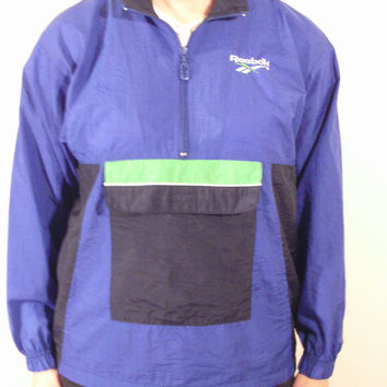 80s REEBOK Blue Sports Windbreaker Jacket Athletic Wear