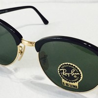 NWT Ray-Ban RB4246 901 Clubround Black Frame Green Classic 51mm Lens Sunglasses
