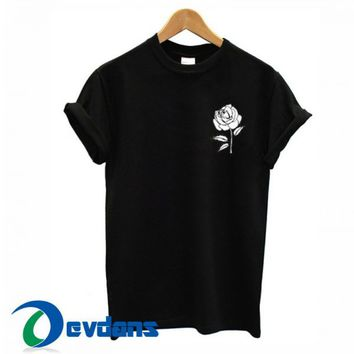 White Rose Pocket T Shirt Women And Men Size S To 3XL