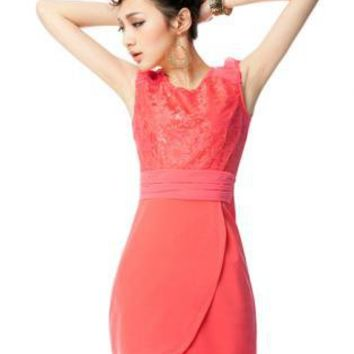 Pink Bridal Dress - Slim Stitching Lace Sleeveless Dress | UsTrendy