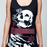 Skull T Shirt Skeleton Graphic Design Women Black T-Shirt Vest Tank Top Singlet Sleeveless Size S M