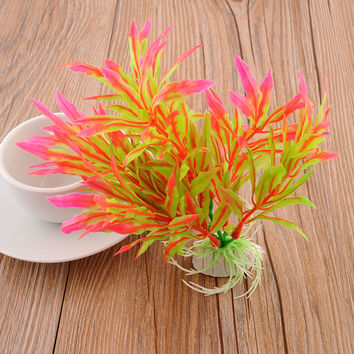 Artificial Water Plants Aquarium Fish Tank Plastic Glass Decoration Durable