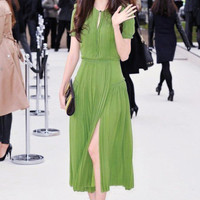 Short Sleeves Pleated Green Full Length Chiffon Dress