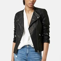 Women's Topshop 'Charlie' Quilted Faux Leather Jacket