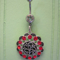Belly Button Ring - Body Jewelry -Red Medallion With Black and Red Crystals and Clear Gem Stone Belly Button Ring