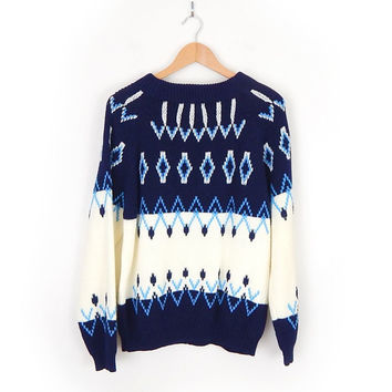 Vintage 70s Navy Blue and Cream Men's Ski Sweater - Cozy Unisex Nordic Blue and White Geometric Knit Jumper Pullover Sweater by Mancraft