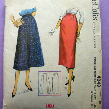 1950's Women's Skirts Waist 30 inches McCall's 4243 Vintage Sewing Pattern
