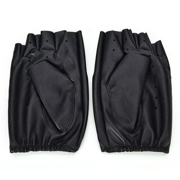 (One Time Offer) Leather Fingerless Driving Gloves