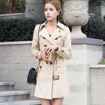 Double Breast Lapel Long Trench Coat