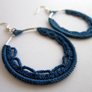 blue earrings,crochet earrings,cotton earrings,silver earrings,circle earrings,dangle earrings,elegant earrings,hoops blue,round earring