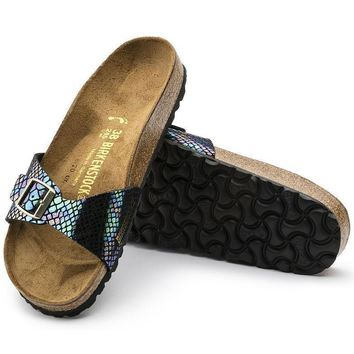 Sale Birkenstock Madrid Birko Flor Shiny Snake Black Multicolor 1003461 Sandals