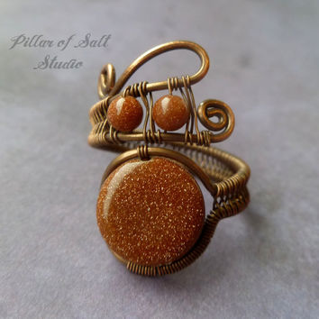Adjustable Wire Wrapped Ring, wire wrapped jewelry handmade, Brown Goldstone, wire jewelry, copper jewelry, earthy jewelry, copper ring