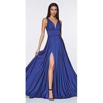 CLEARANCE - Cinderella Divine 7469 Sexy Long Prom Dress Royal Blue Evening Satin Gown (Size 20)