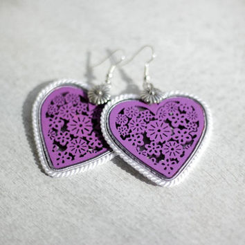 Purple Hearts Earrings, Purple Soutache Earrings, Bohemian Purple Earrings, Wooden Hearts Earrings, Purple Earrings, Purple Folk Earrings
