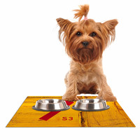 "Steve Dix ""7S3"" Yellow Painting Dog Place Mat"