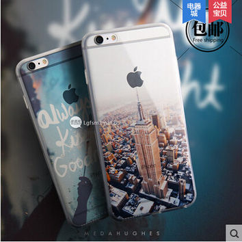 Beautiful City Mountain Ocean Transparent Case Cover For Apple iPhone 6 Case Silicone 6 Series Crystal Soft Case For Phone
