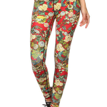 Hidden Dragon Dream Leggings - Vermillion