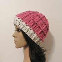 Epic Ribbed Snow Beanie - Candy Pink and Eggshell - Made to order - Mens and womens hat