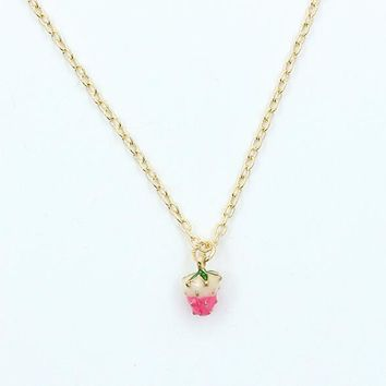 Lovely fruit strawberry pendant necklace for women girl children best gift cute small fruit necklace fashion jewelry