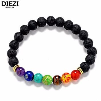 ONETOW diezi new design mens bracelets black lava 7 chakra healing balance beads bracelet for men women rhinestone reiki prayer stones