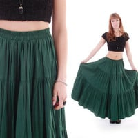 Forest Green Mulii Tiered Pleated Boho Hippie Belly Dancer Skirt 70s Long Maxi Trendy Winter Vintage Clothing Womens Size Medium