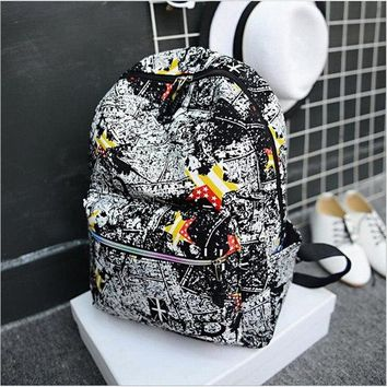University College Backpack 2017 New Fashion Women  Graffiti Canvas  Winds Student School Bag Portable Large Capacity Travel AT_63_4