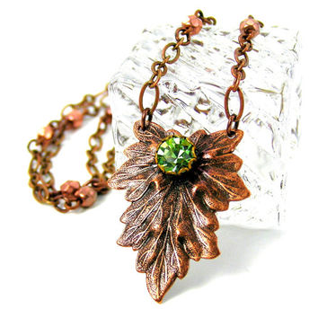 Woodland Leaf Necklace, Antique Copper Pendant Necklace, Leaf Jewelry, Fall Jewelry