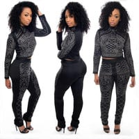 Black Long Sleeve Beaded Crop Top and Long Pant Sets
