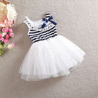 Baby Girl Toddler Princess Stripe Bow Lace Puffy Tulle Summer Dress