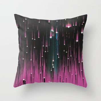 Pink Meteors Throw Pillow by DuckyB