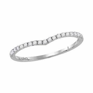 14kt White Gold Womens Round Diamond Slender Chevron Stackable Band Ring 1/3 Cttw