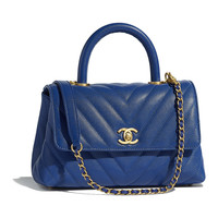 Grained Calfskin & Gold-Tone Metal Blue Small Flap Bag with Top Handle | CHANEL