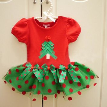 Red Polka Dots Kids Christmas Outfits Green Tree Cotton Toddler Lace Dress New Year Costume Roupa De Bebe Children Clothes