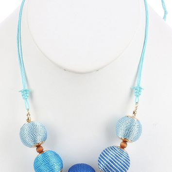 Blue Color Cord Wrapped Chunky Ball Bib Necklace