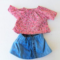 """American Girl Bitty Baby Clothes 15"""" Doll Clothes Pink Flower Floral Peasant Blouse & Denim Blue Jean Skirt for spring summer fall winter"""