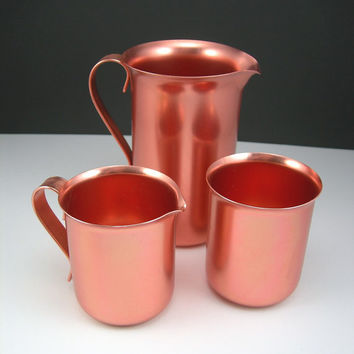 Anodized Aluminum Breakfast Set Color Craft Creamer, Sugar, Milk or Syrup Pitcher in Copper Color, Vintage Kitchen circa 1960s