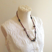 Beaded Hippie Necklace - Festival Necklace - Vintage Boho Necklace - Vintage Wood Bead Necklace