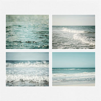 Ocean Art, Beach Decor Print Set of 4, Landscape Photography, Blue, Teal, Aqua, Water Waves, Seascape, Sea, Beach Landscape.