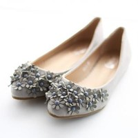 Grey Flats with 3D Floral Bead Detail