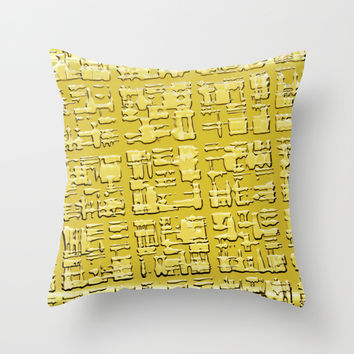Egyption writing Throw Pillow by Laureenr