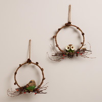 Bird and Owl Wreaths,  Set of 2 - World Market