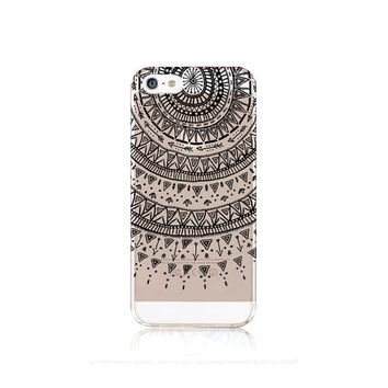 iPhone 6 Case Clear Clear Manadala iPhone 6 Case iPhone 5 Case Clear Black Mandala iPhone 5 Case iPhone 6 Case Tribal Clear iPhone 5 Case