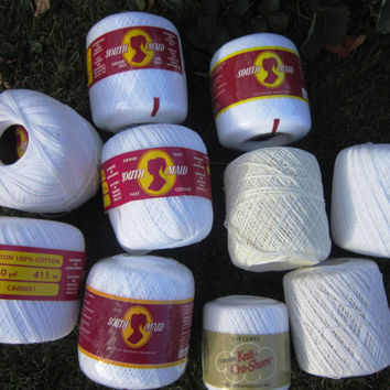 Destash Cotton Crochet Thread in White and Cream; Knitting Thread, Project Yarn