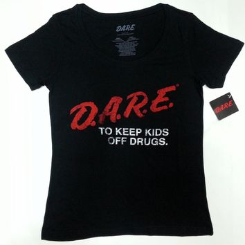 "D.A.R.E. ""DARE"" TO KEEP KIDS OF DRUGS Ladies Scoop Neck T-Shirt NWT Authentic"