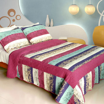 Secret Season 100% Cotton 3PC Vermicelli Quilted Patchwork Quilt Set in Full/Queen Size