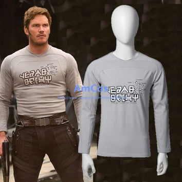 2017 Movie Guardians of the Galaxy 2 Peter Jason Quill Star Lord T-thirt Cosplay Long Sleeve T-shirt Halloween Costumes